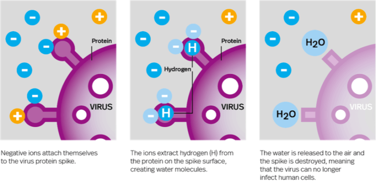 how ionflow destroys virus protein spikes infographic